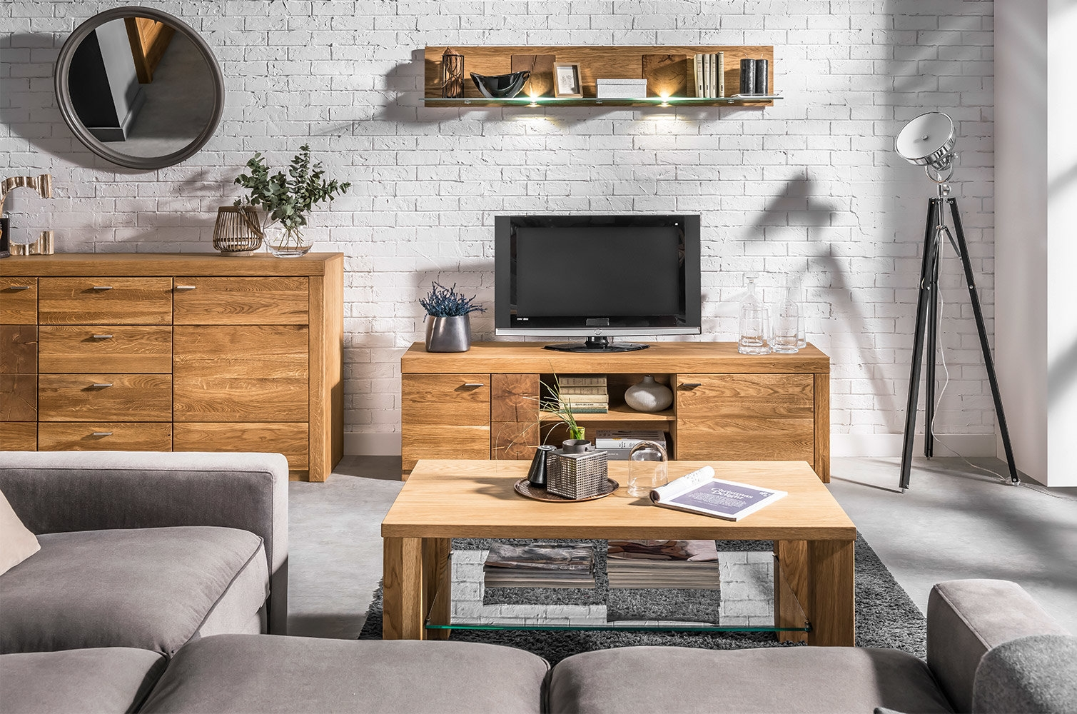 Set de mobila living din lemn de stejar si furnir 3 piese Velle Oak