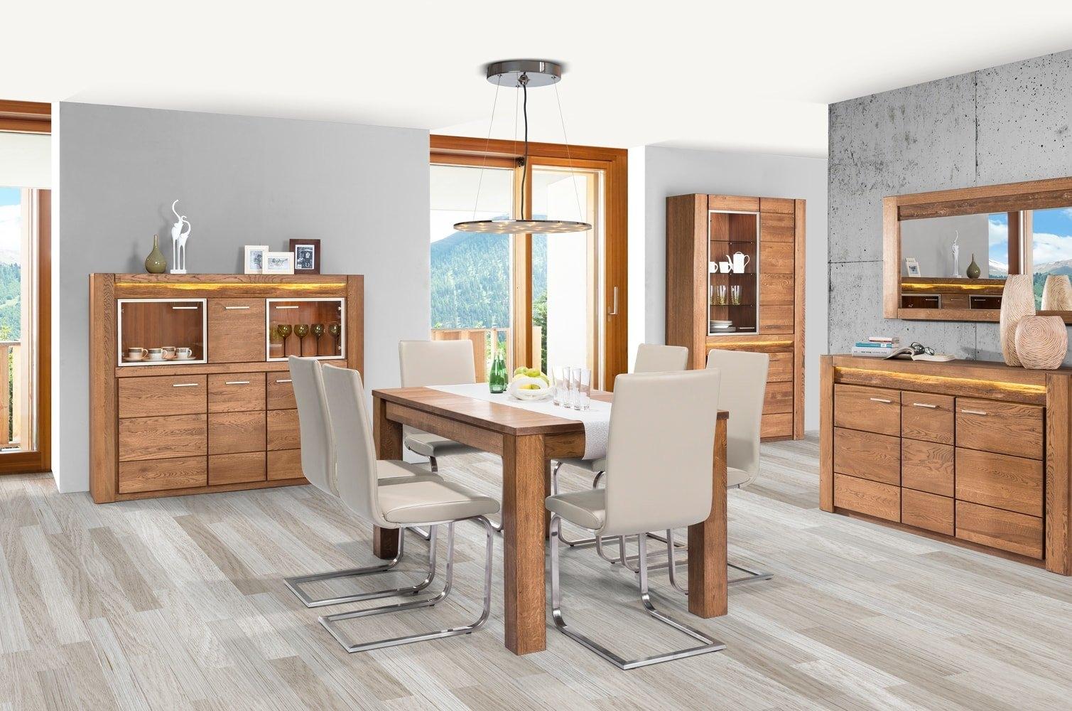 Set de mobila dining din lemn de stejar si furnir, 5 piese Velvet Oak