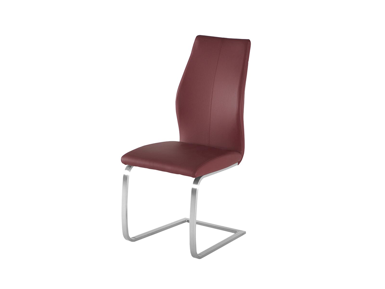 Scaun tapitat cu piele ecologica, cu picioare metalice Elis Burgundy, l45xA60xH102 cm poza