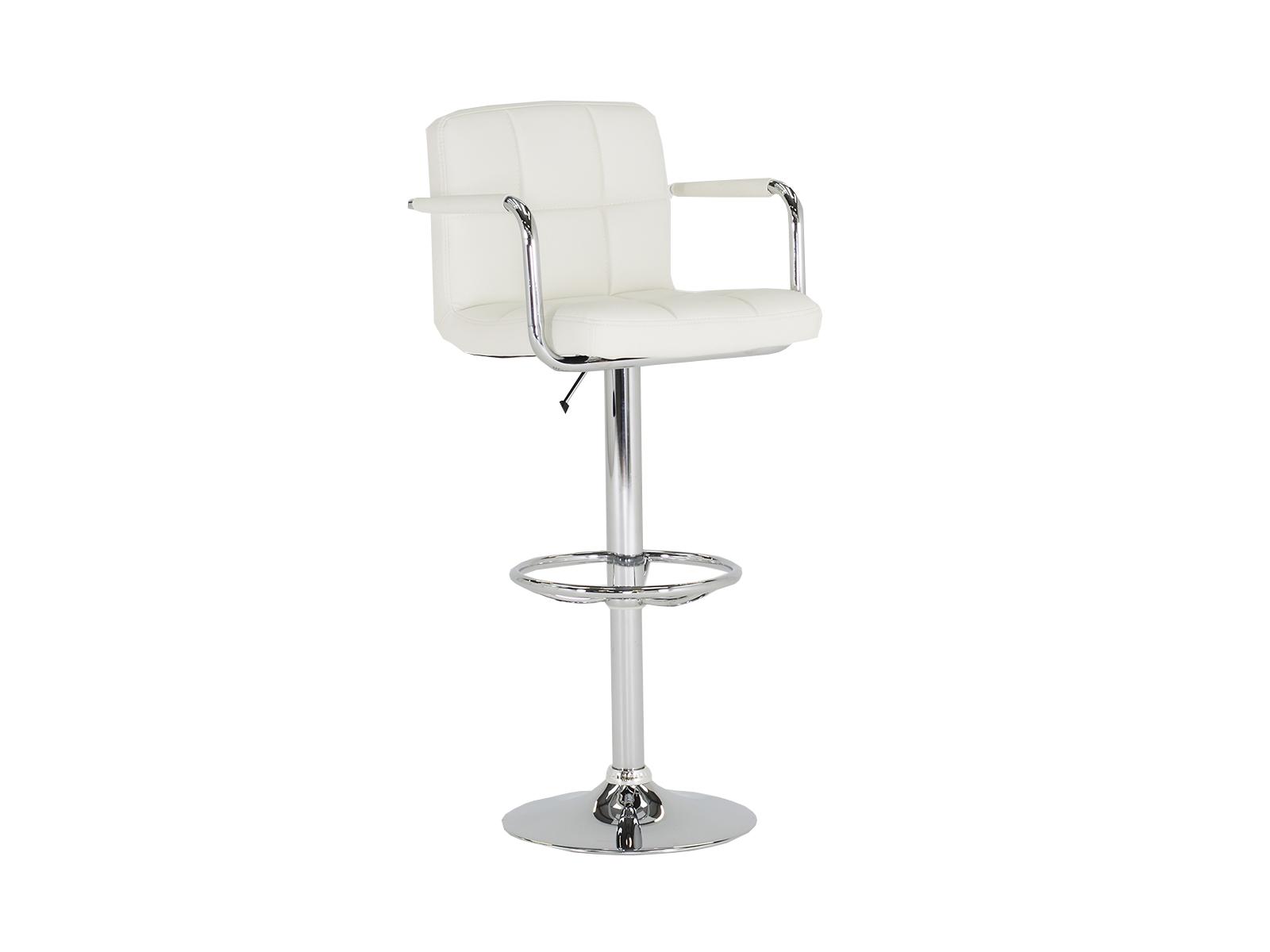 Scaun de bar tapitat cu piele ecologica cu picior metalic Miami White l45xA45xH101 cm