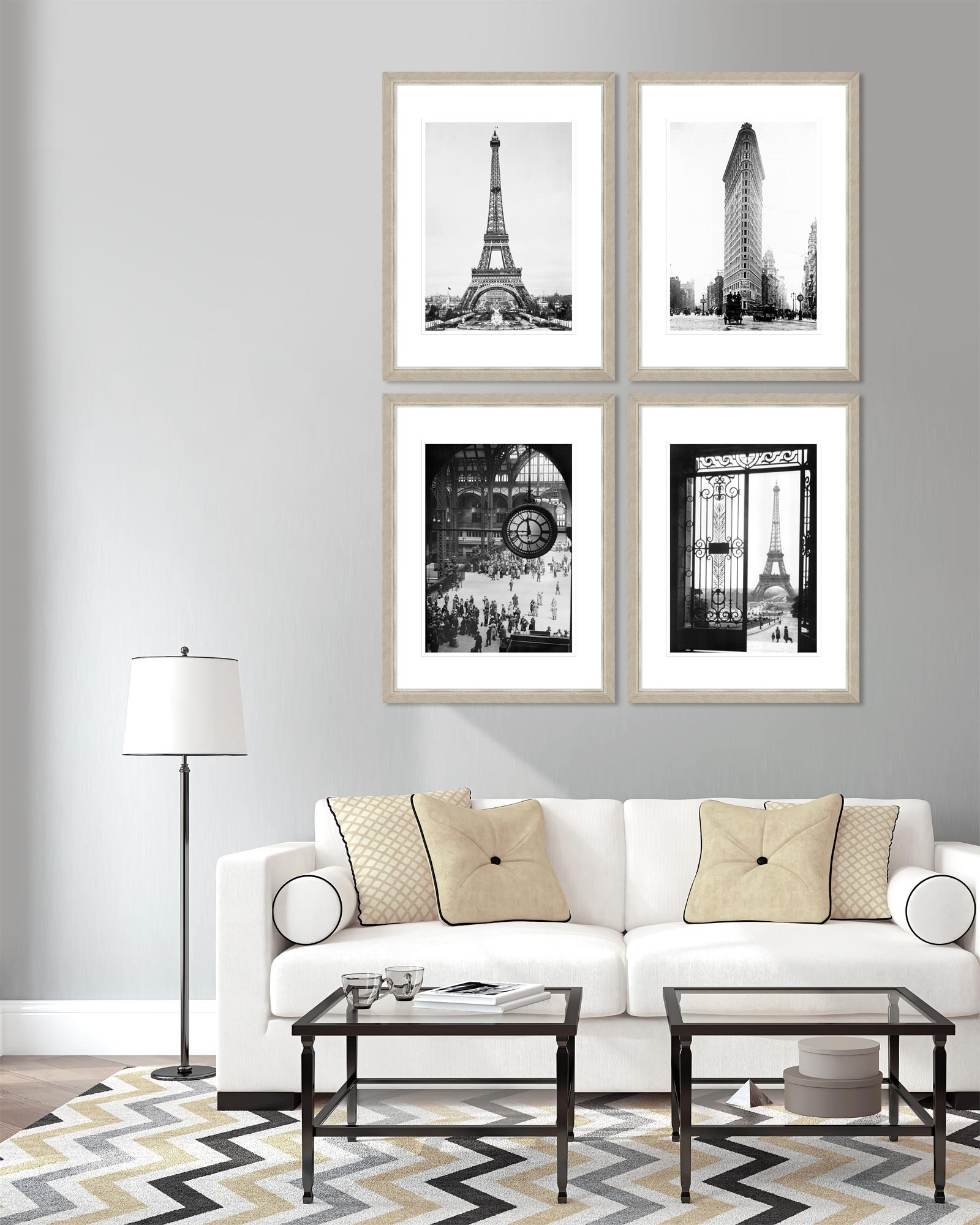 Tablou 4 piese Framed Art Vintage Architecture Set