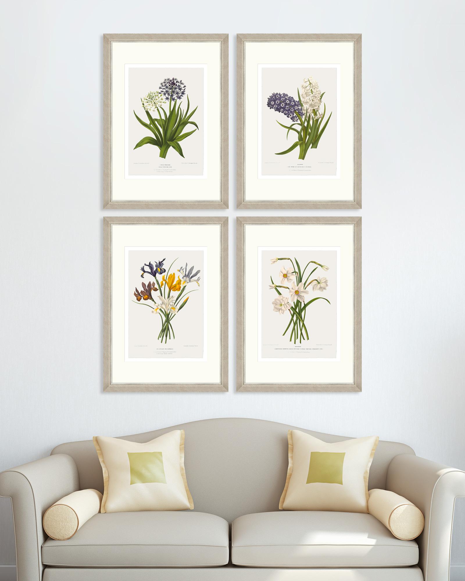 Tablou 4 piese Framed Art Vintage Flower Plates