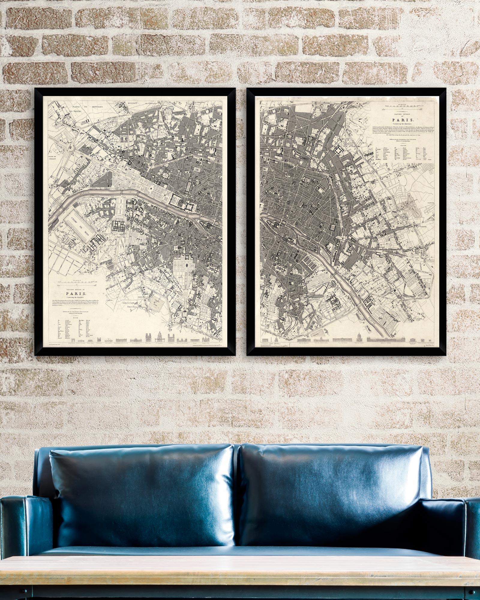 Tablou 2 piese Framed Art Vintage Paris Maps