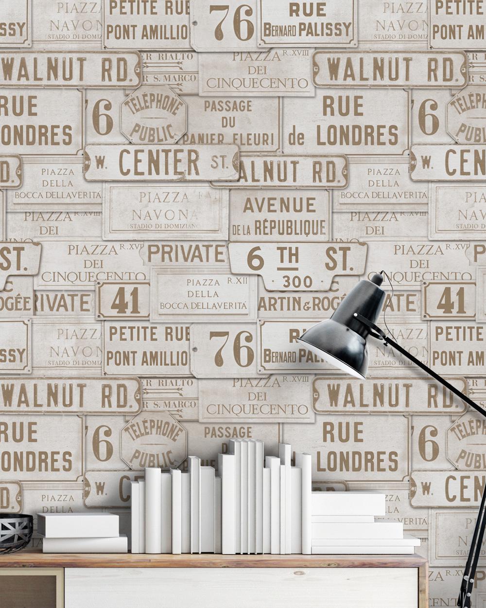 Set Role Tapet Imprimat Digital Vintage Signs Taupe