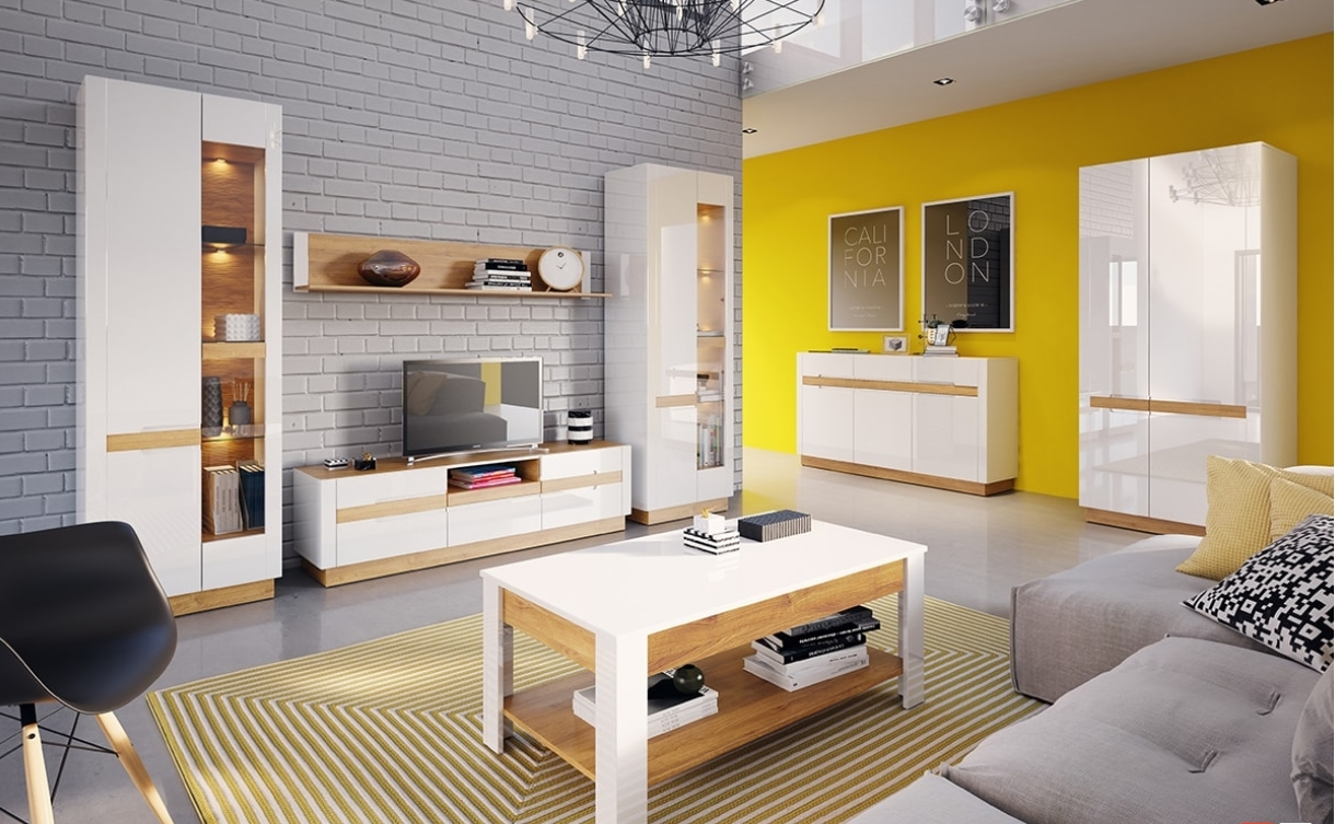 Set de mobila living din MDF si pal, 7 piese Visio White / Oak imagine