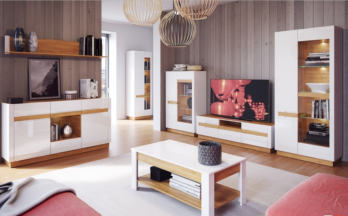 Set de mobila living din MDF si pal 7 piese Visio II White / Oak