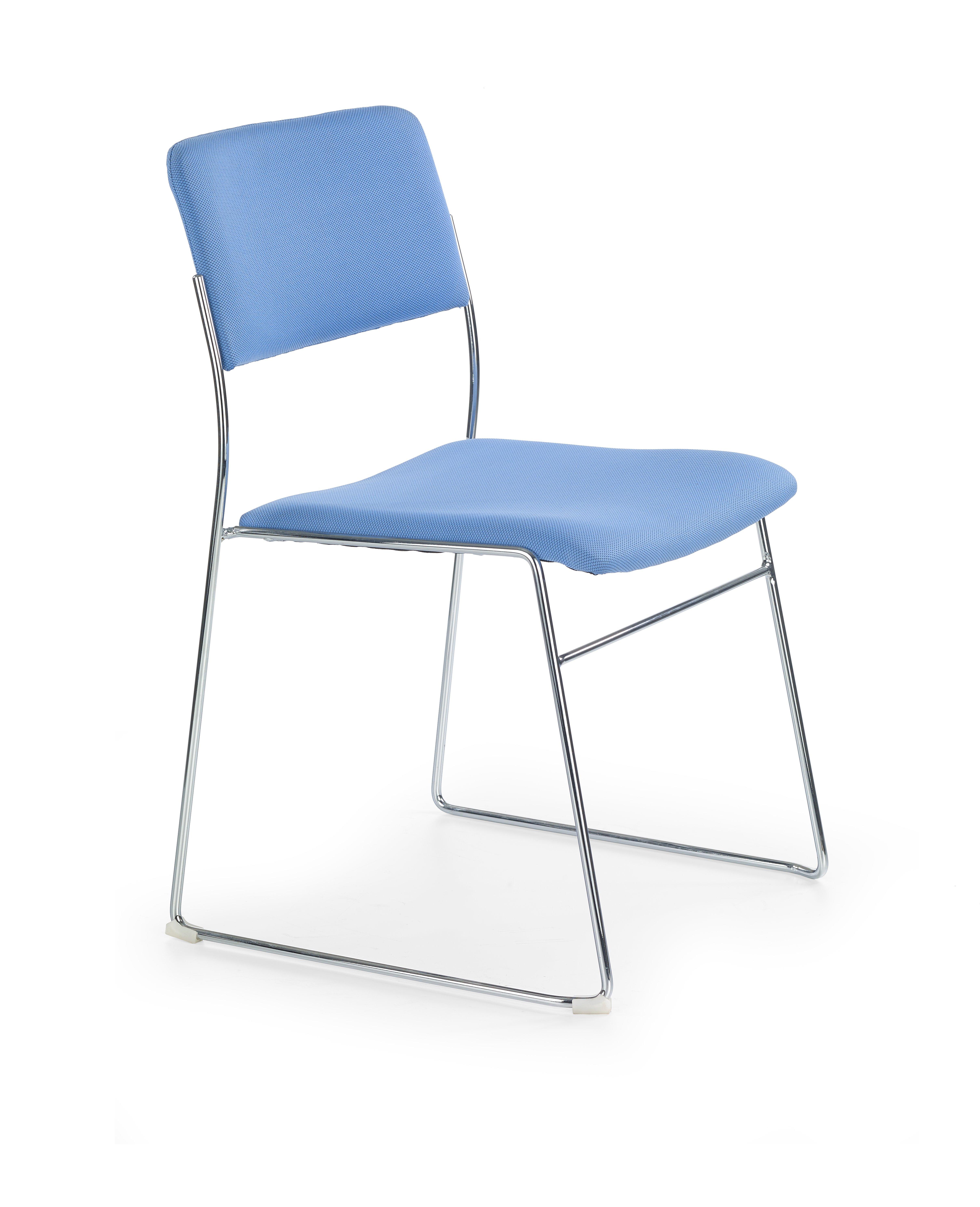 Scaun din metal tapitat cu stofa Vito Blue