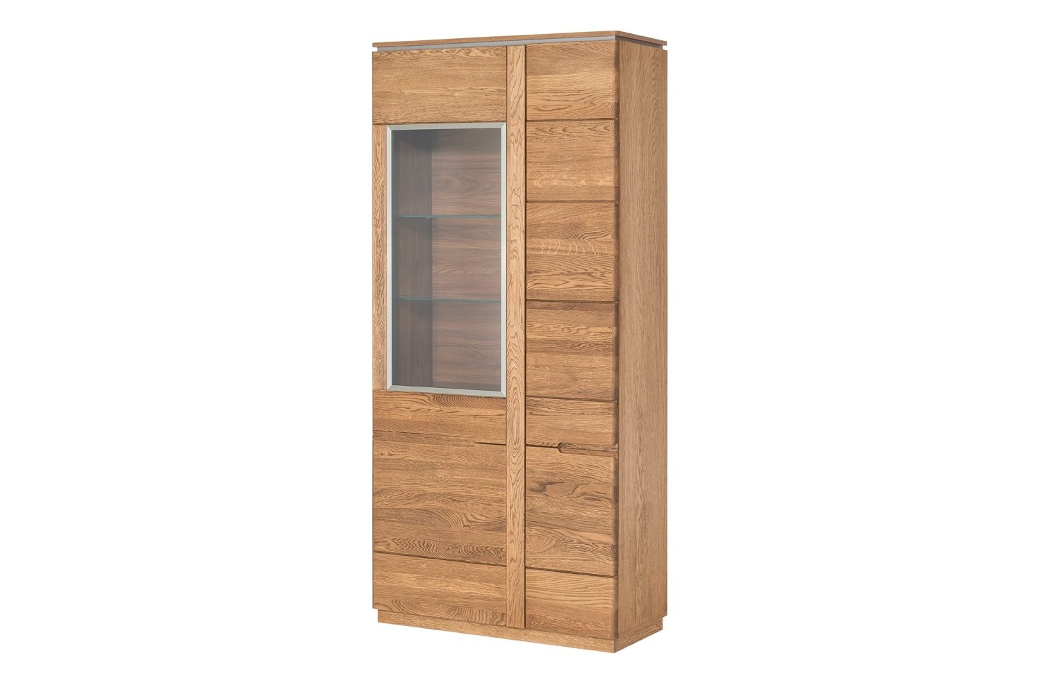 Vitrina din lemn si furnir, cu 2 usi Big Montenegro 12 Oak, l90xA42xH198 cm imagine