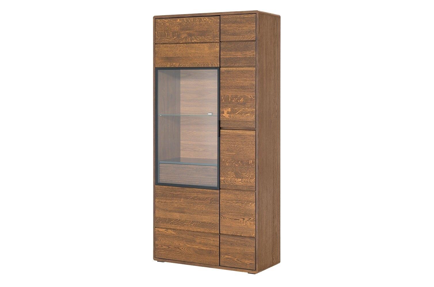 Vitrina din lemn si furnir cu 1 sertar si 2 usi Bellis 12 Oak l92xA42xH199 cm