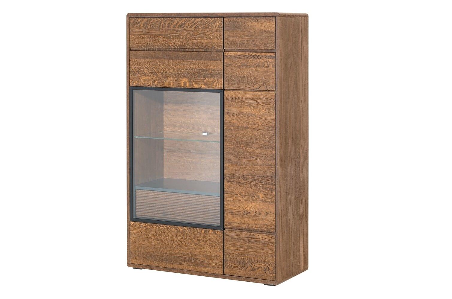 Vitrina din lemn si furnir cu 1 sertar si 2 usi Small Bellis 15 Oak l92xA42xH144 cm