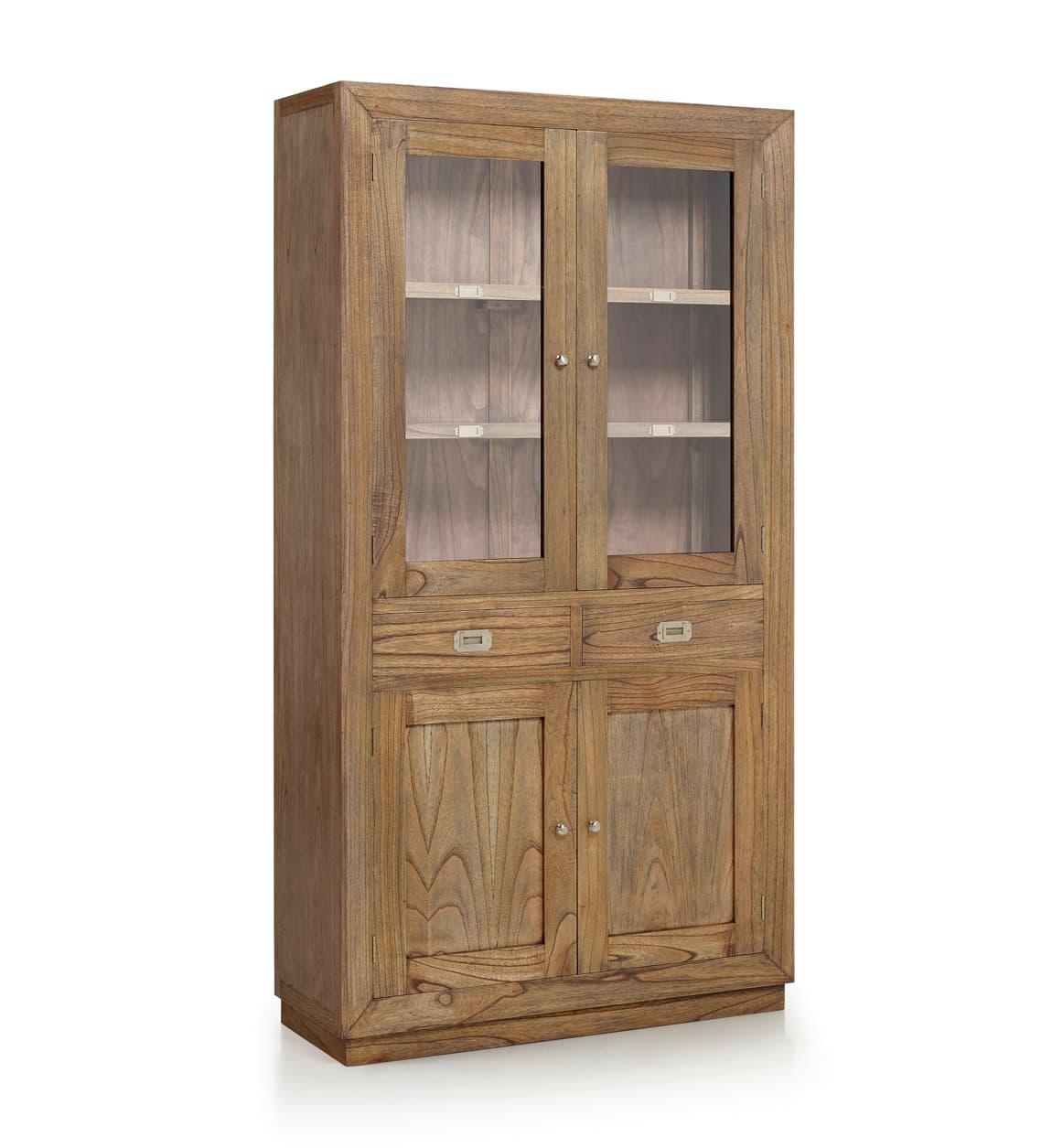 Vitrina din lemn cu 2 sertare si 4 usi, Merapi Natural, l100xA40xH190 cm somproduct.ro