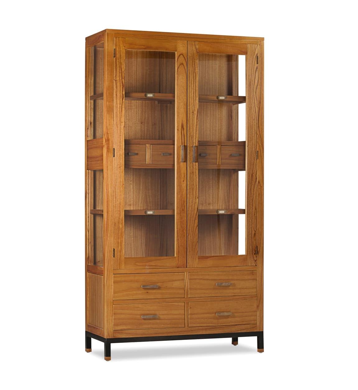 Vitrina din lemn cu 8 sertare si 2 usi, Madhu Natural, l100xA40xH190 cm somproduct.ro