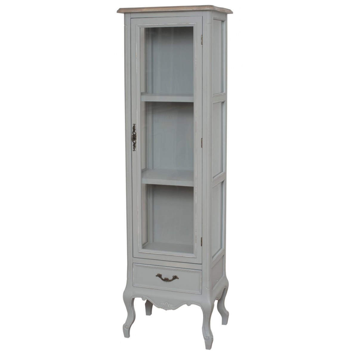 Vitrina din lemn de plop si MDF, cu 1 sertar si 1 usa Catania CAT05 Light Grey, l48xA35xH160 cm imagine