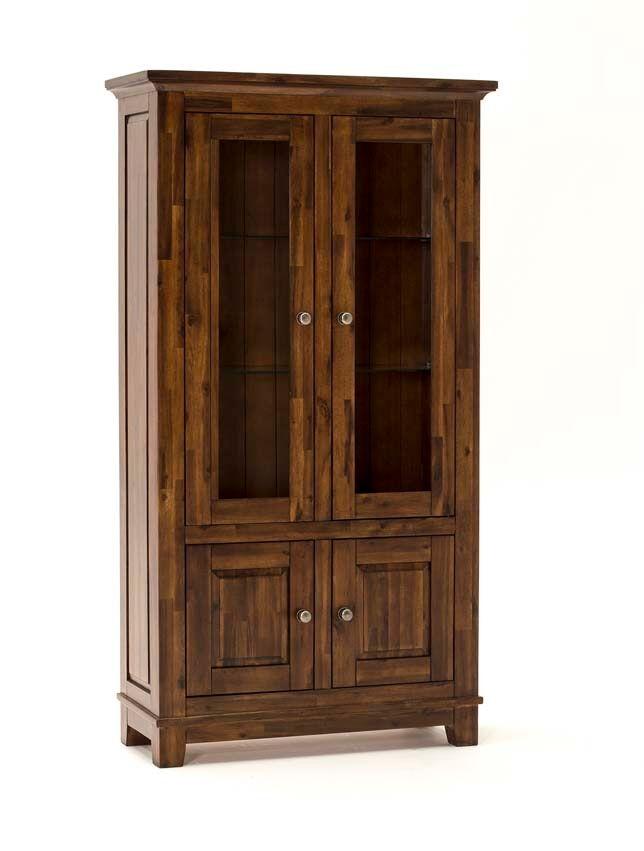 Vitrina din lemn de salcam cu 4 usi Emerson Brown l95xA40xH175 cm