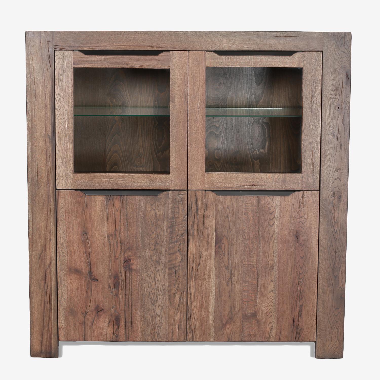 Vitrina din lemn de stejar salbatic, cu 4 usi Emma, l135xA51xH140 cm imagine