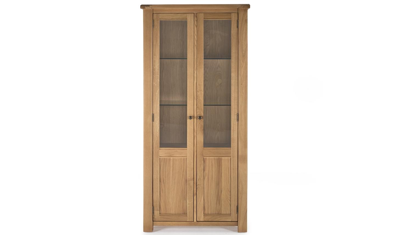 Vitrina din lemn de stejar si furnir cu 2 usi Breeze Oak l90xA38xH184 cm