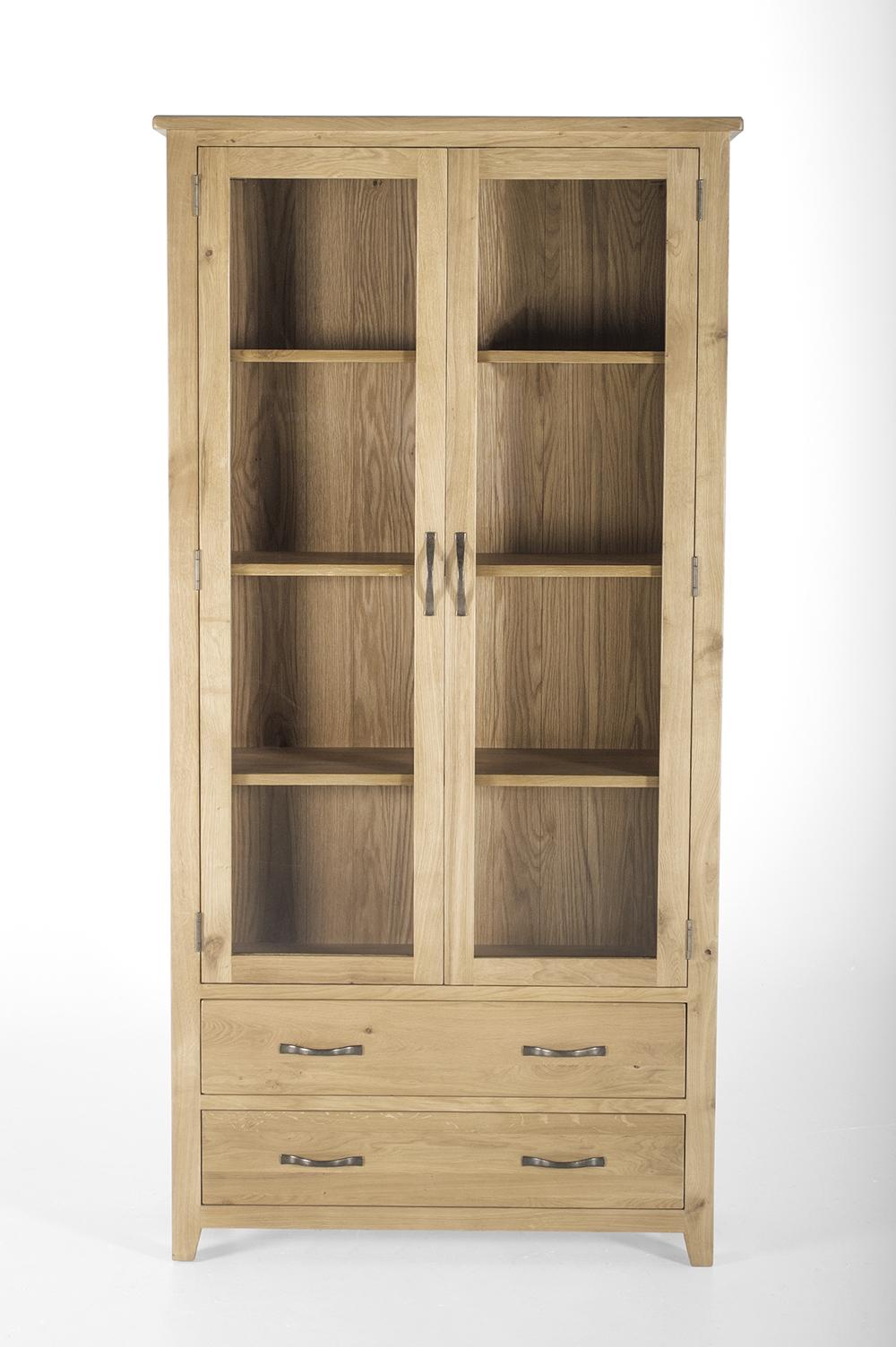 Vitrina din lemn de stejar si furnir cu 2 usi si 2 sertare Ramore Oak l95xA37xH190 cm