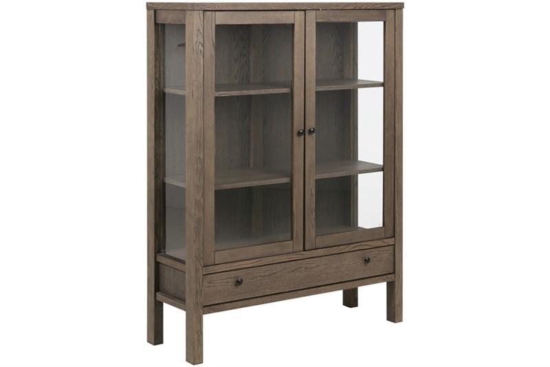 Vitrina din lemn si furnir cu 1 sertar si 2 usi Brentwood Oak l110xA37xH1455 cm