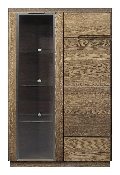 Vitrina din lemn si furnir cu 2 usi Negro 15 Oak l90xA42xH125 cm