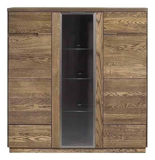 Vitrina din lemn si furnir cu 3 usi Negro 48 Oak l120xA42xH125 cm