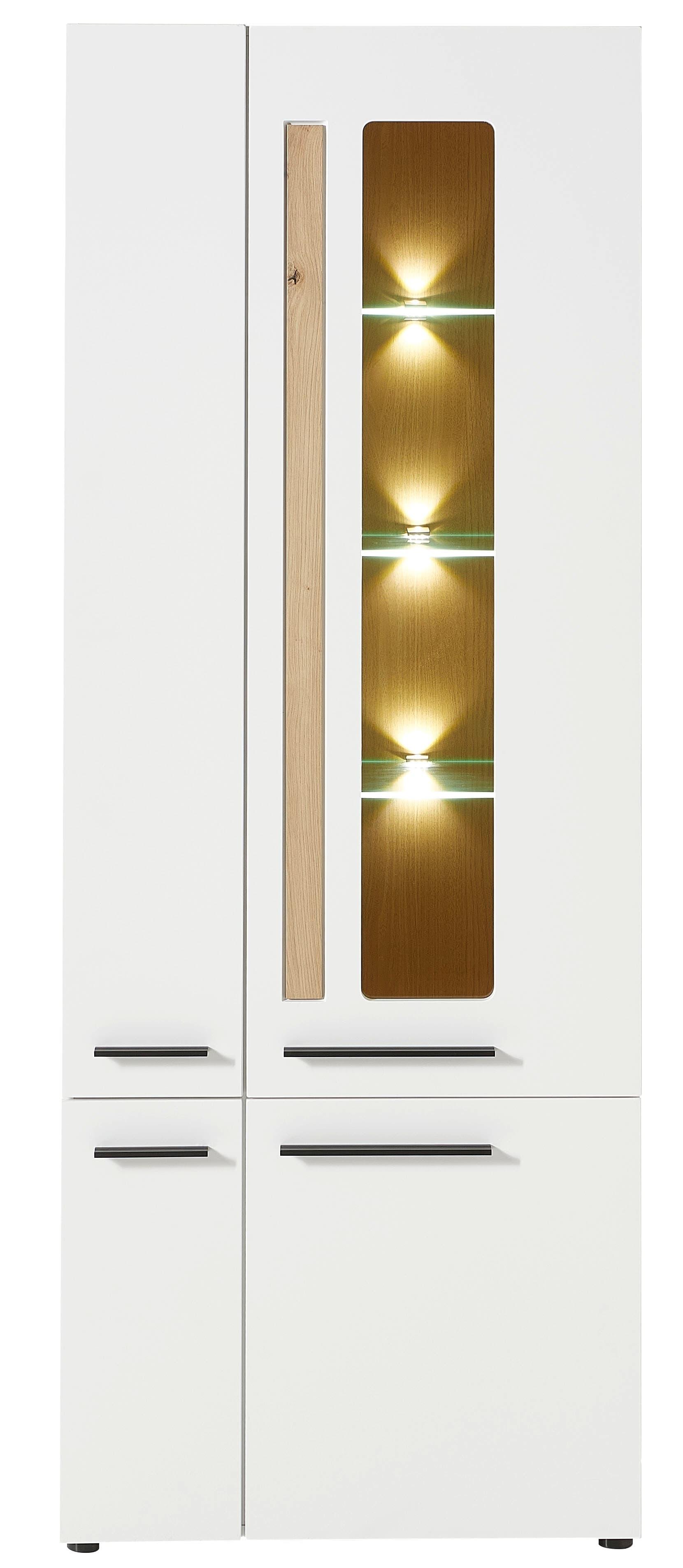 Vitrina din MDF, cu 4 usi si LED inclus Loftis Alb / Stejar, l76xA37xH201 cm imagine
