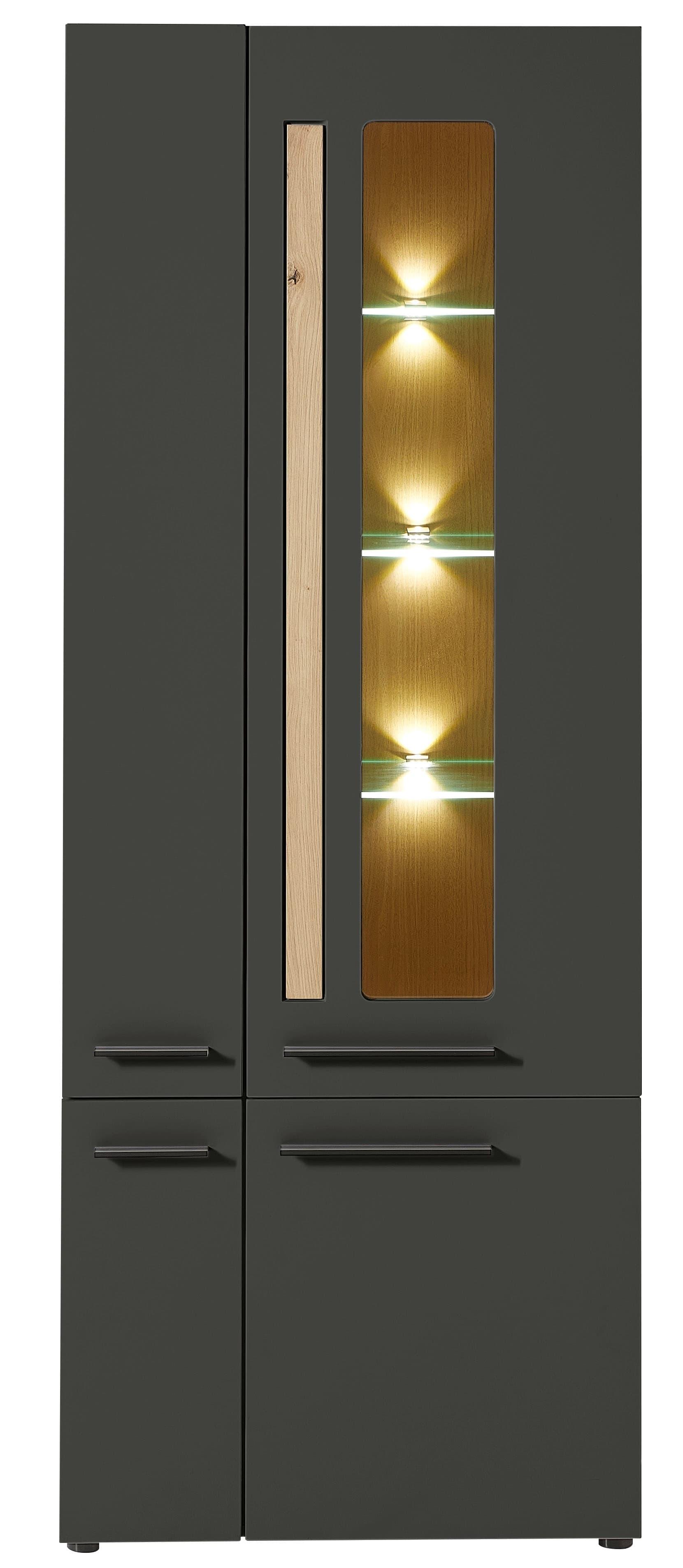 Vitrina din MDF, cu 4 usi si LED inclus Loftis Grafit / Stejar, l76xA37xH201 cm imagine