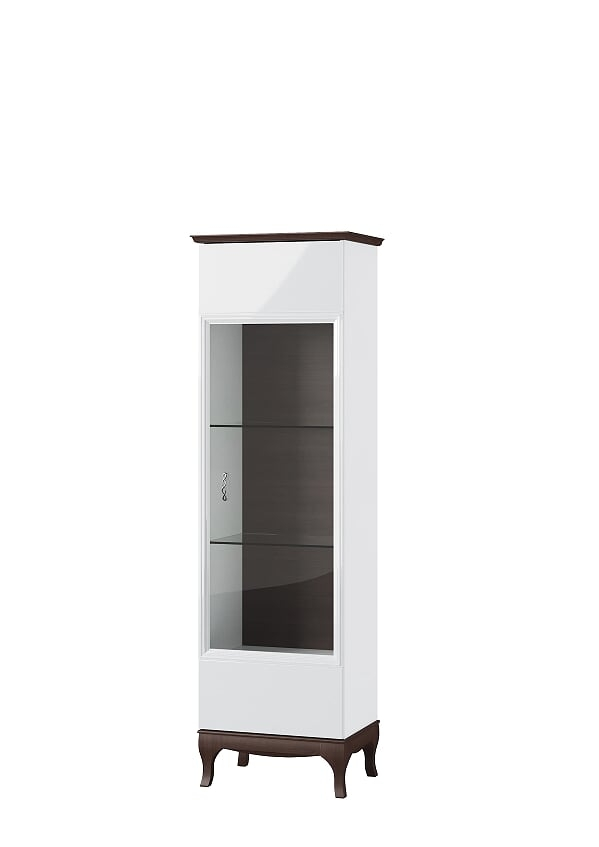 Vitrina din MDF si furnir, cu 1 usa Massimo 11 White / Mocha, l62,5xA42xH206 cm imagine