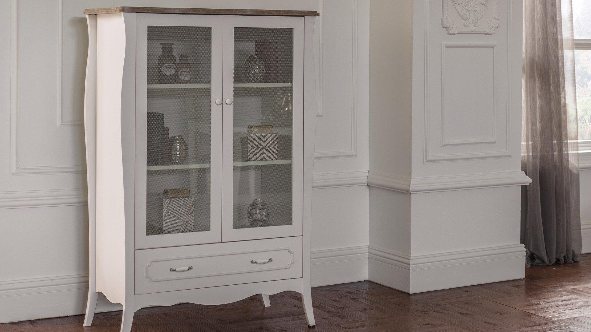 Vitrina din pal cu 1 sertar si 2 usi Riena Alb / Stejar, l104,1xA52,9xH152,4 cm imagine