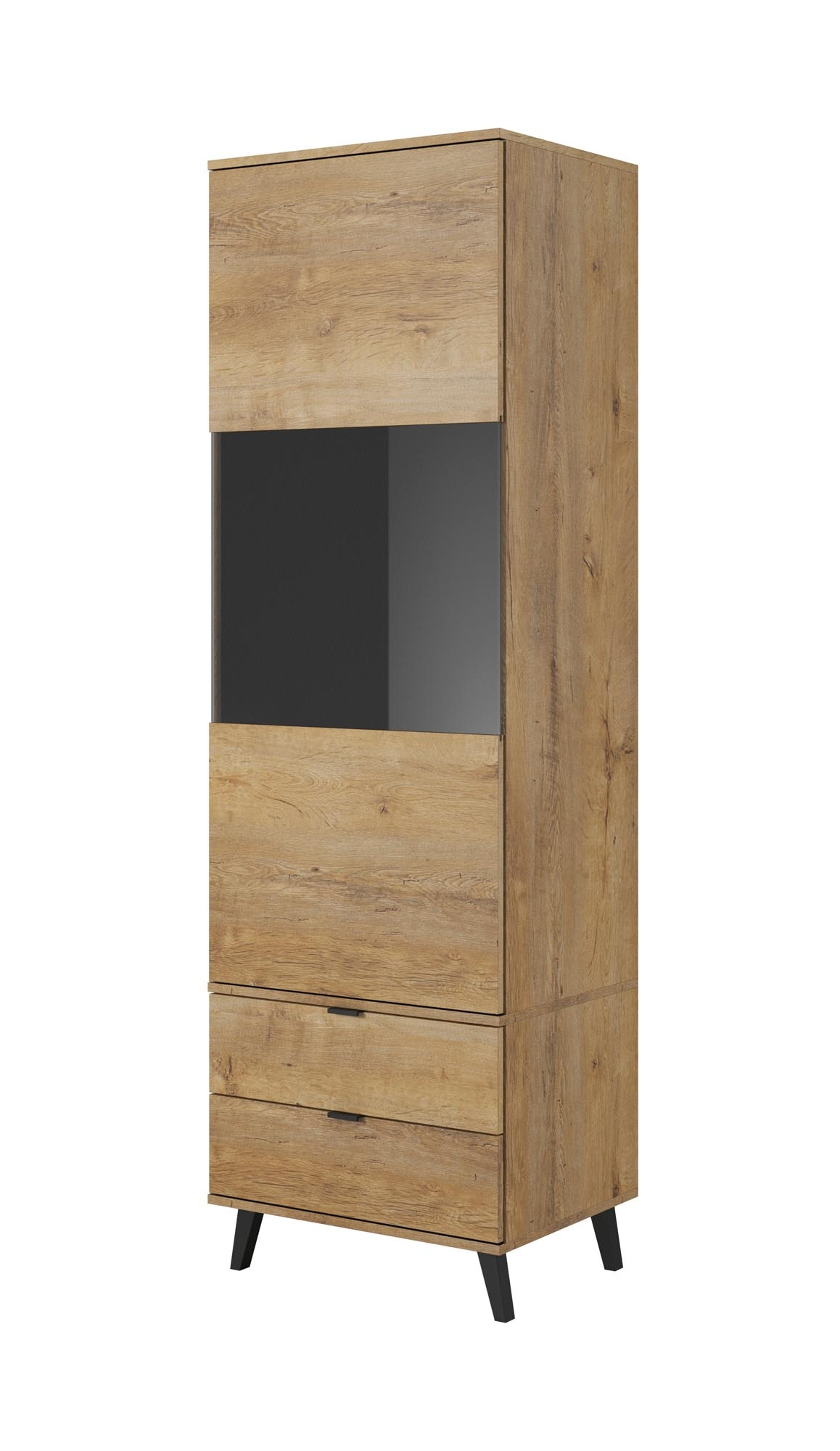Vitrina din pal cu 2 sertare si 1 usa Nest W-2 Stejar, l60xA45xH192 cm imagine