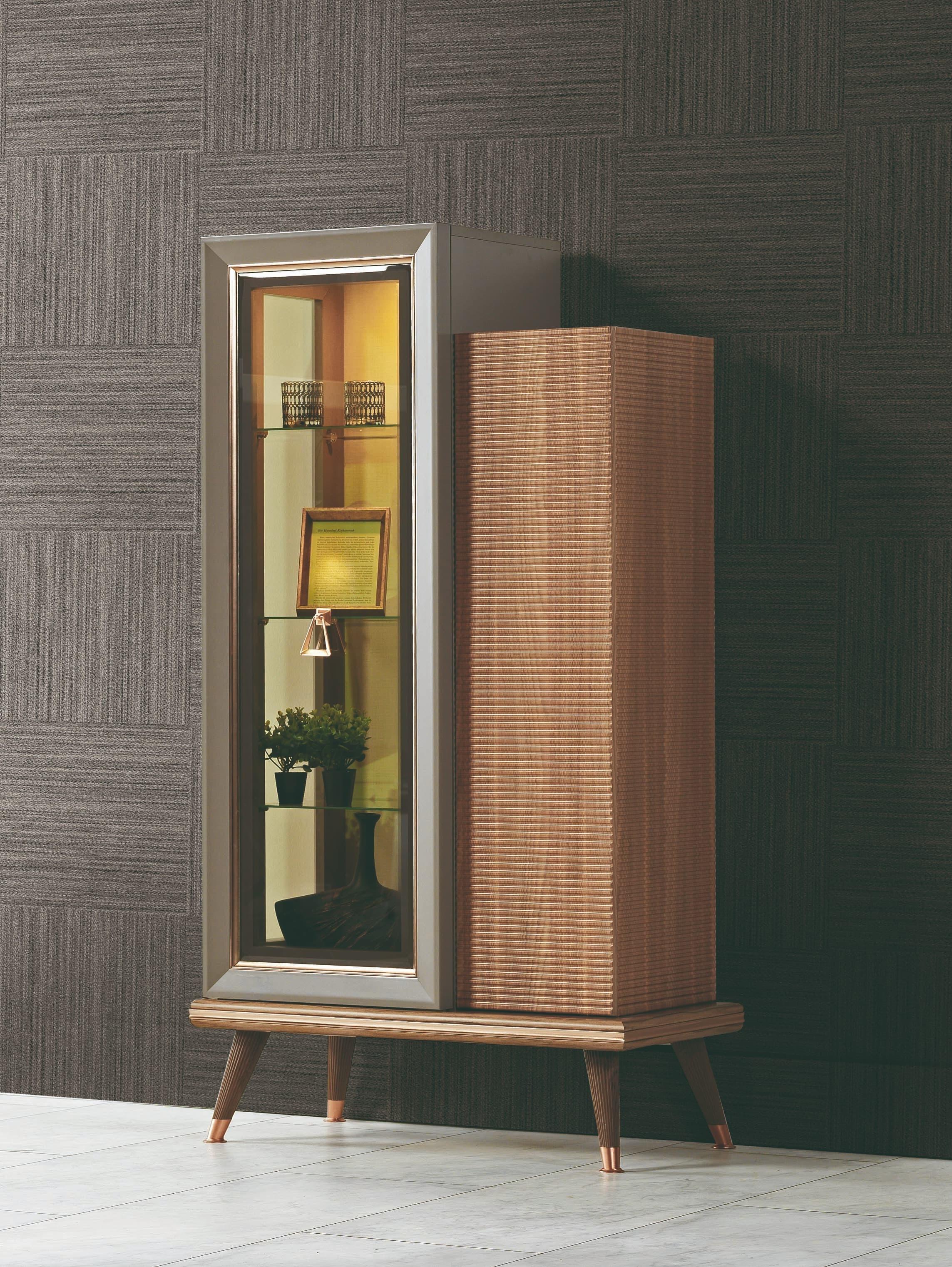 Vitrina din pal cu 2 usi Toscana Dore Gri / Natural, l85xA43xH157 cm somproduct.ro