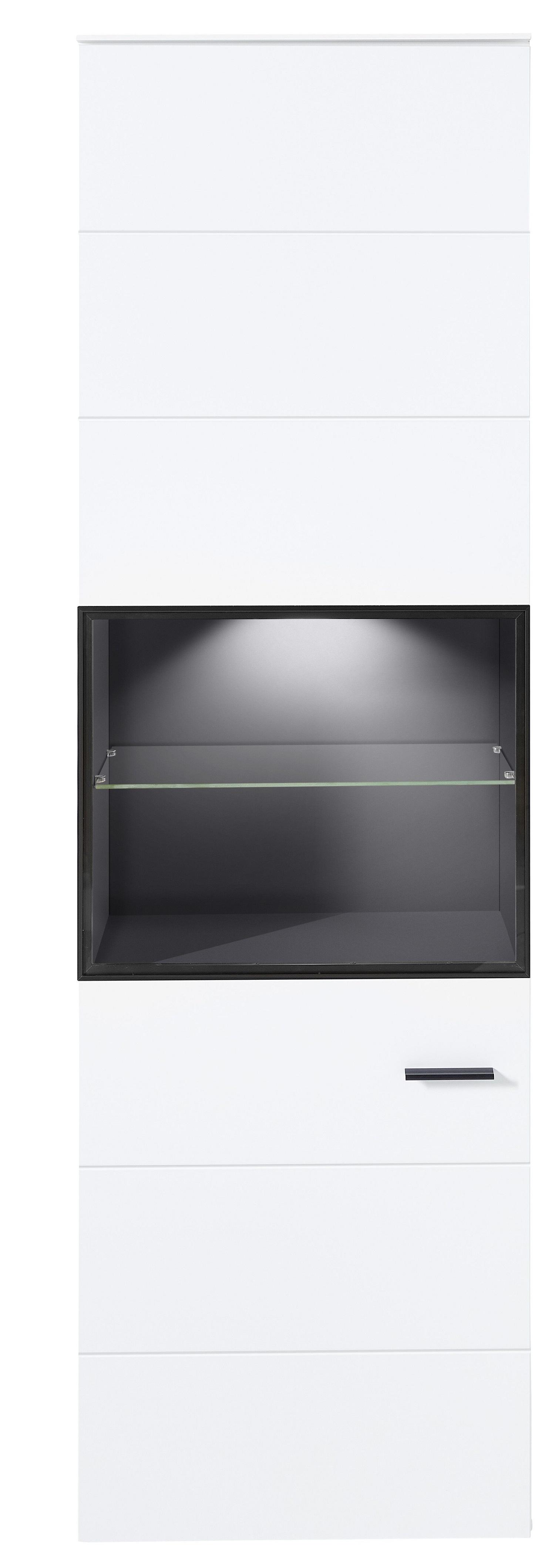 Vitrina din pal si MDF cu 1 usa, Madeline Alb / Grafit, l60xA36xH199 cm imagine