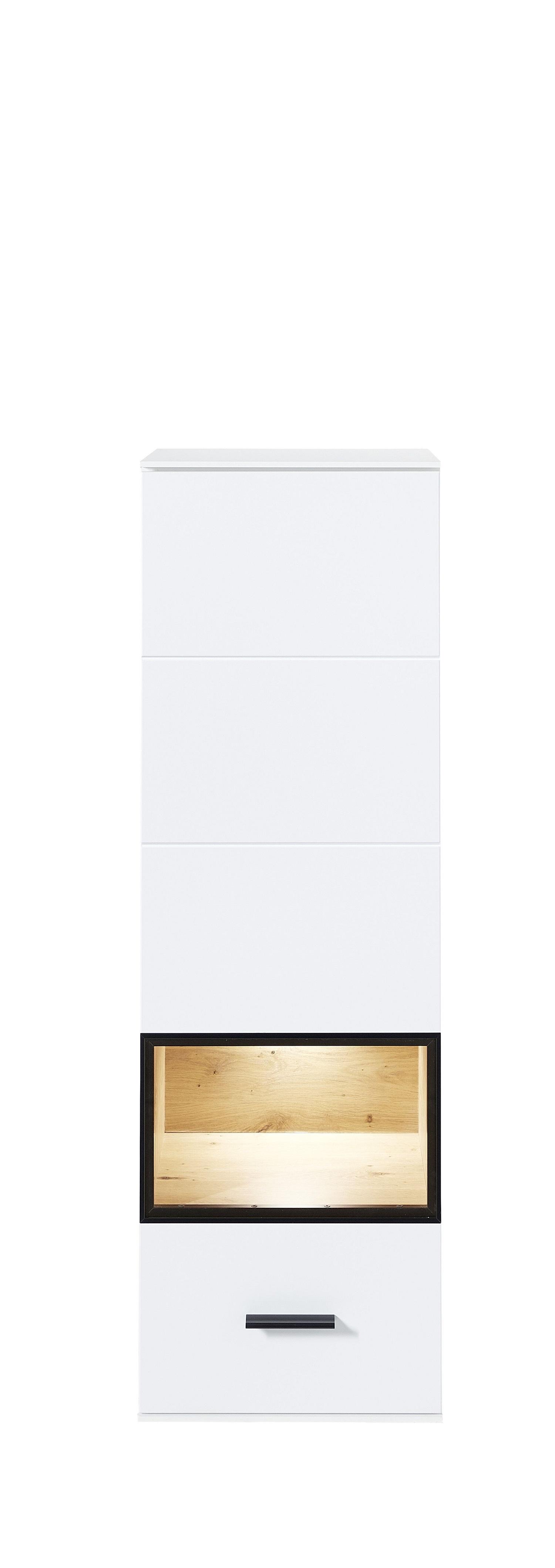 Vitrina suspendata din pal si MDF cu 1 usa, Madeline Alb, l40xA36xH125 cm imagine