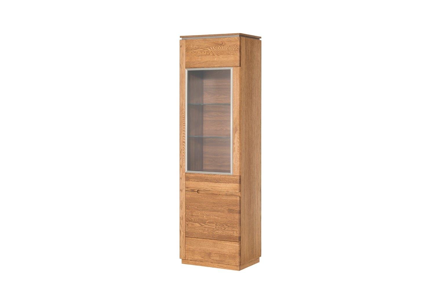 Vitrina din lemn si furnir, cu 1 usa Montenegro 11 Oak, l58xA42xH198 cm imagine