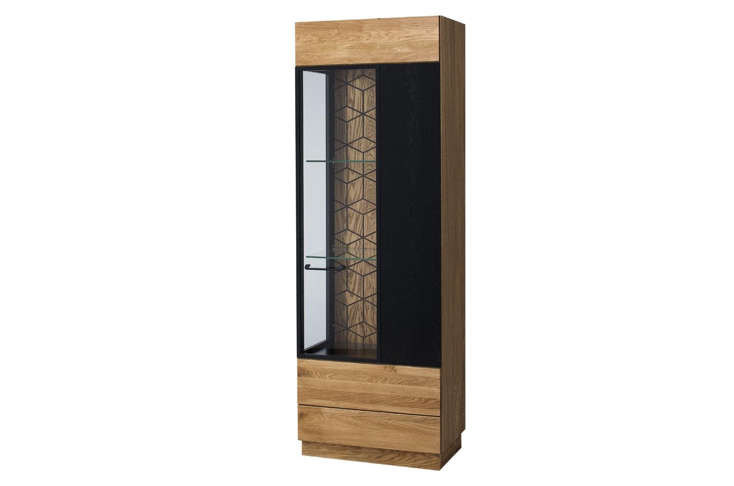 Vitrina din lemn si furnir, cu 1 usa Mosaic 11 Stejar / Negru, l67xA42xH196 cm imagine