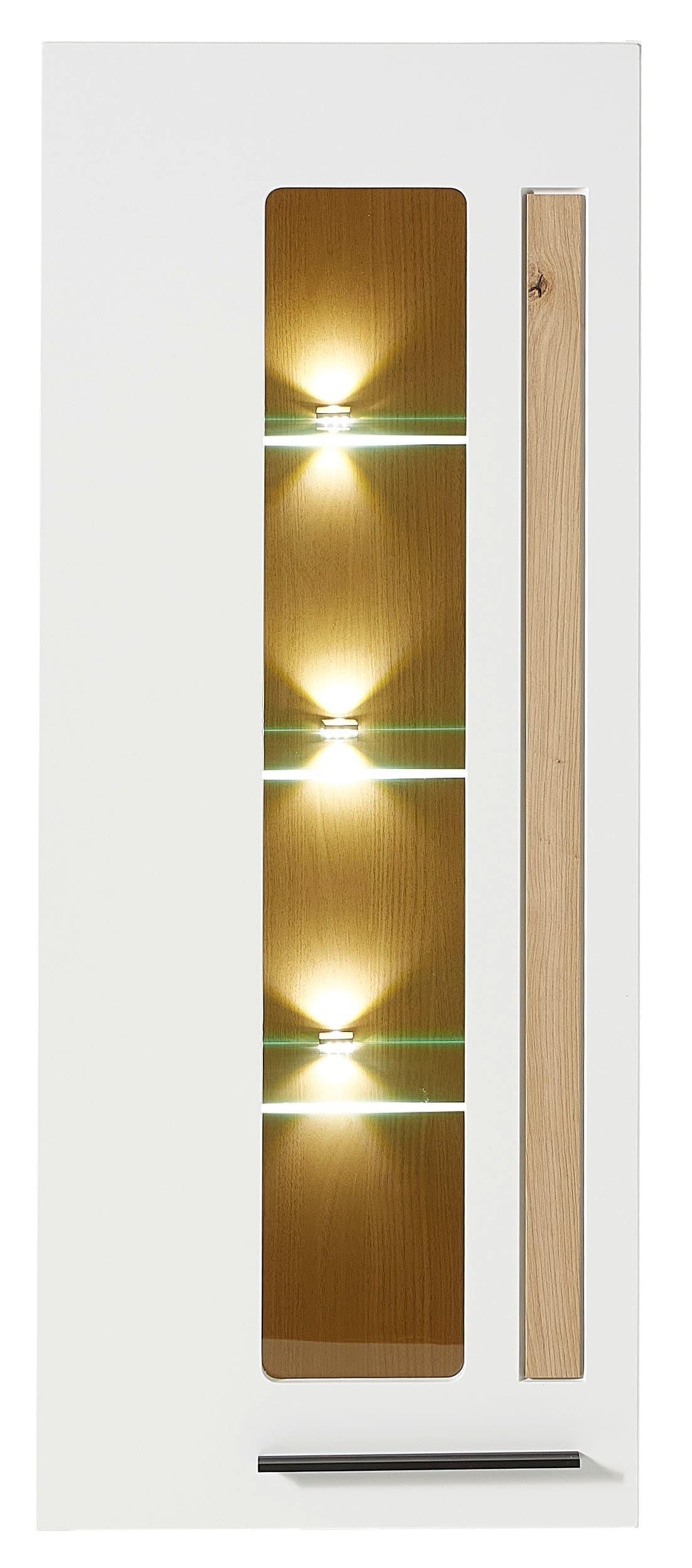 Vitrina suspendata din MDF, cu 1 usa si LED inclus Loftis Alb / Stejar, l52xA37xH128 cm imagine