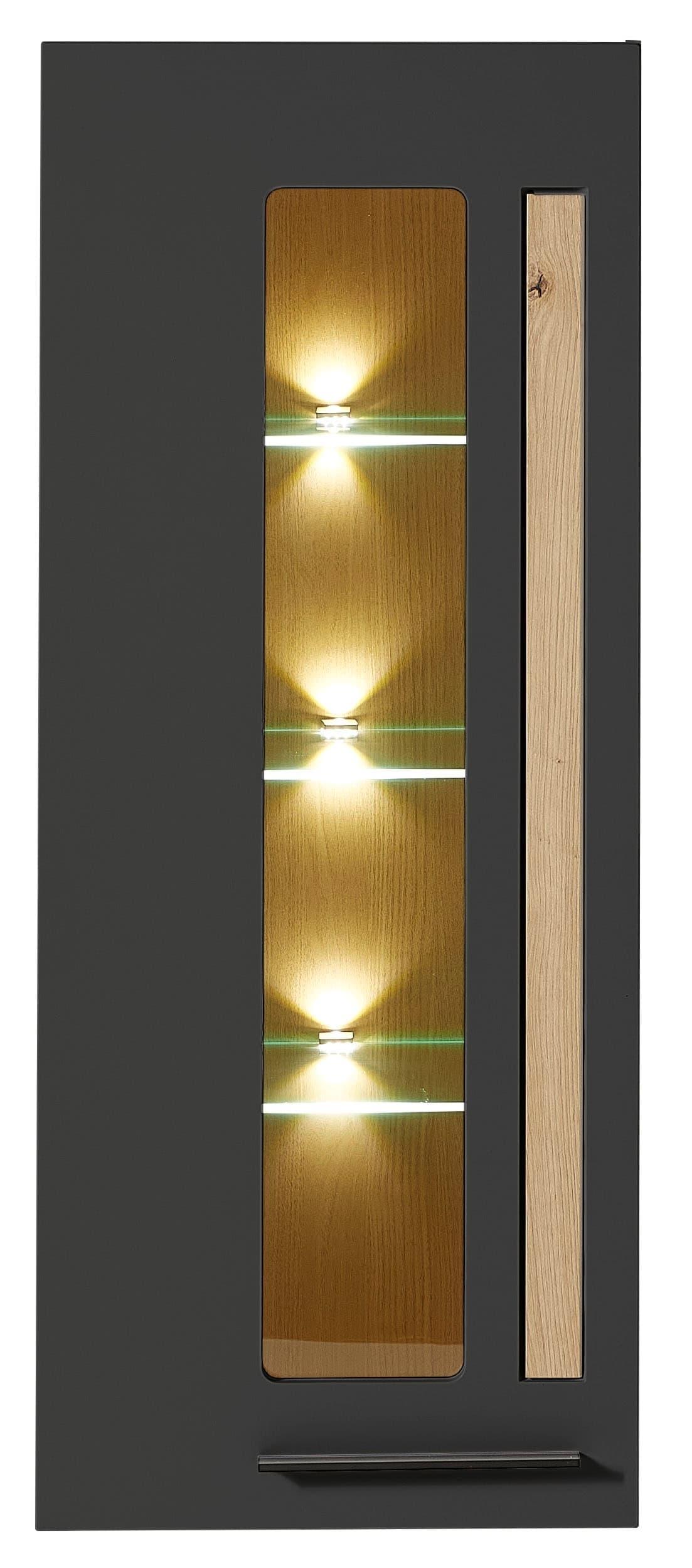 Vitrina suspendata din MDF, cu 1 usa si LED inclus Loftis Grafit / Stejar, l52xA37xH128 cm imagine
