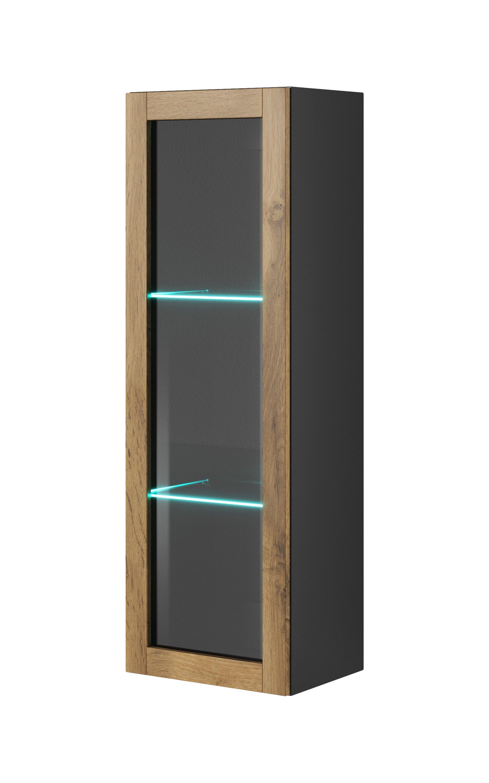 Vitrina suspendata din pal si MDF, cu 1 usa Livo W-120 Wotan Oak / Anthracite, l40xA30xH120 cm imagine