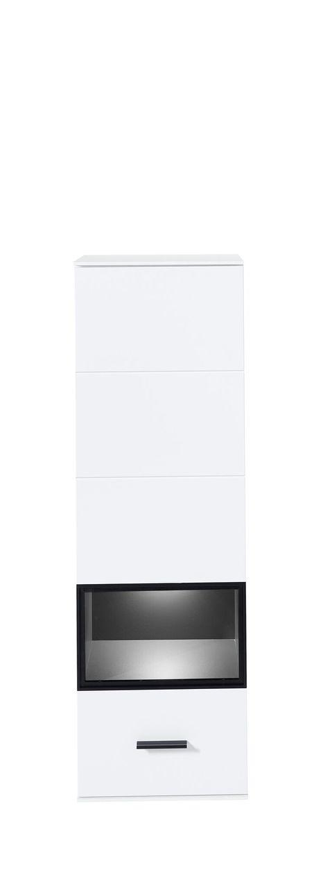 Vitrina suspendata din pal si MDF cu 1 usa, Madeline Alb / Grafit, l40xA36xH125 cm imagine