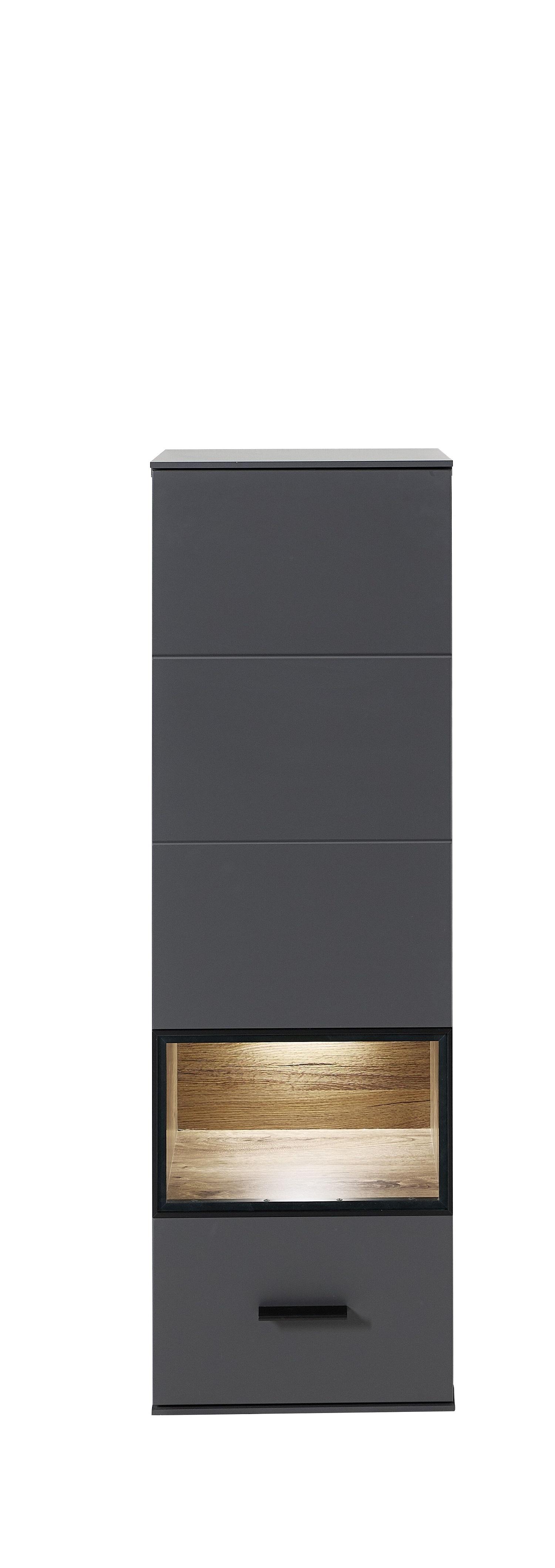 Vitrina suspendata din pal si MDF cu 1 usa, Madeline Grafit, l40xA36xH125 cm imagine