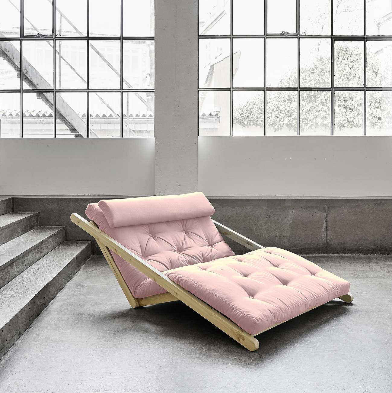 Canapea Extensibila Figo Unfinished Pastel Pink