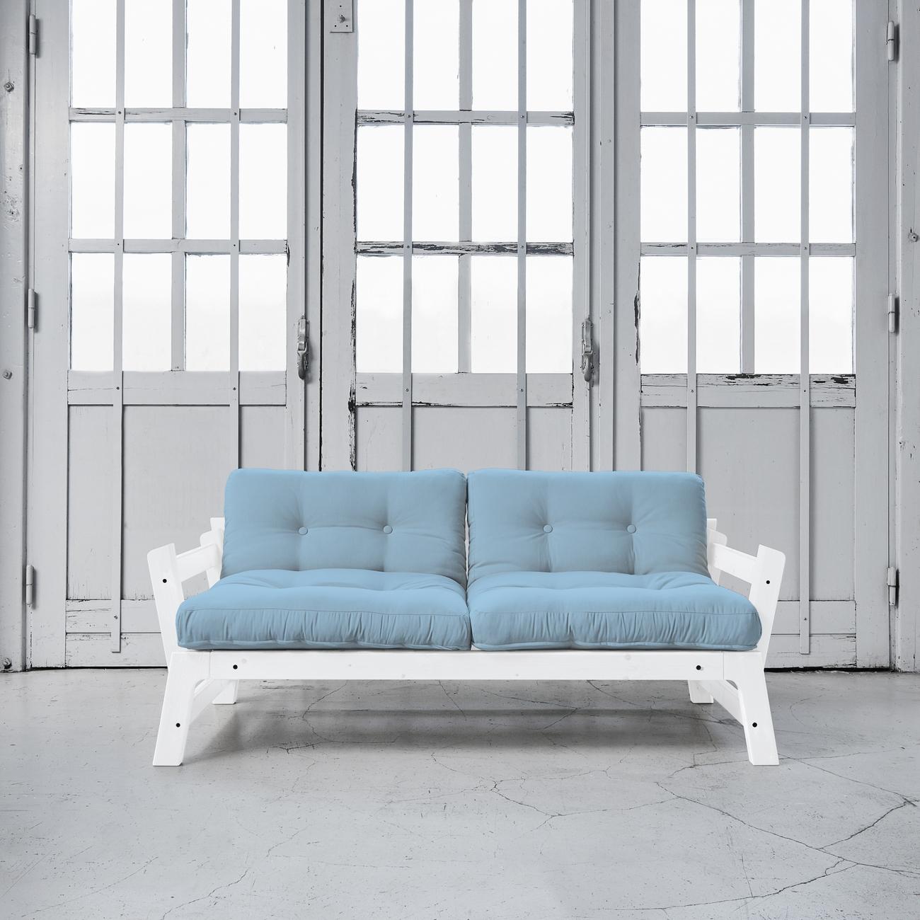Canapea Extensibila Alb Albastru
