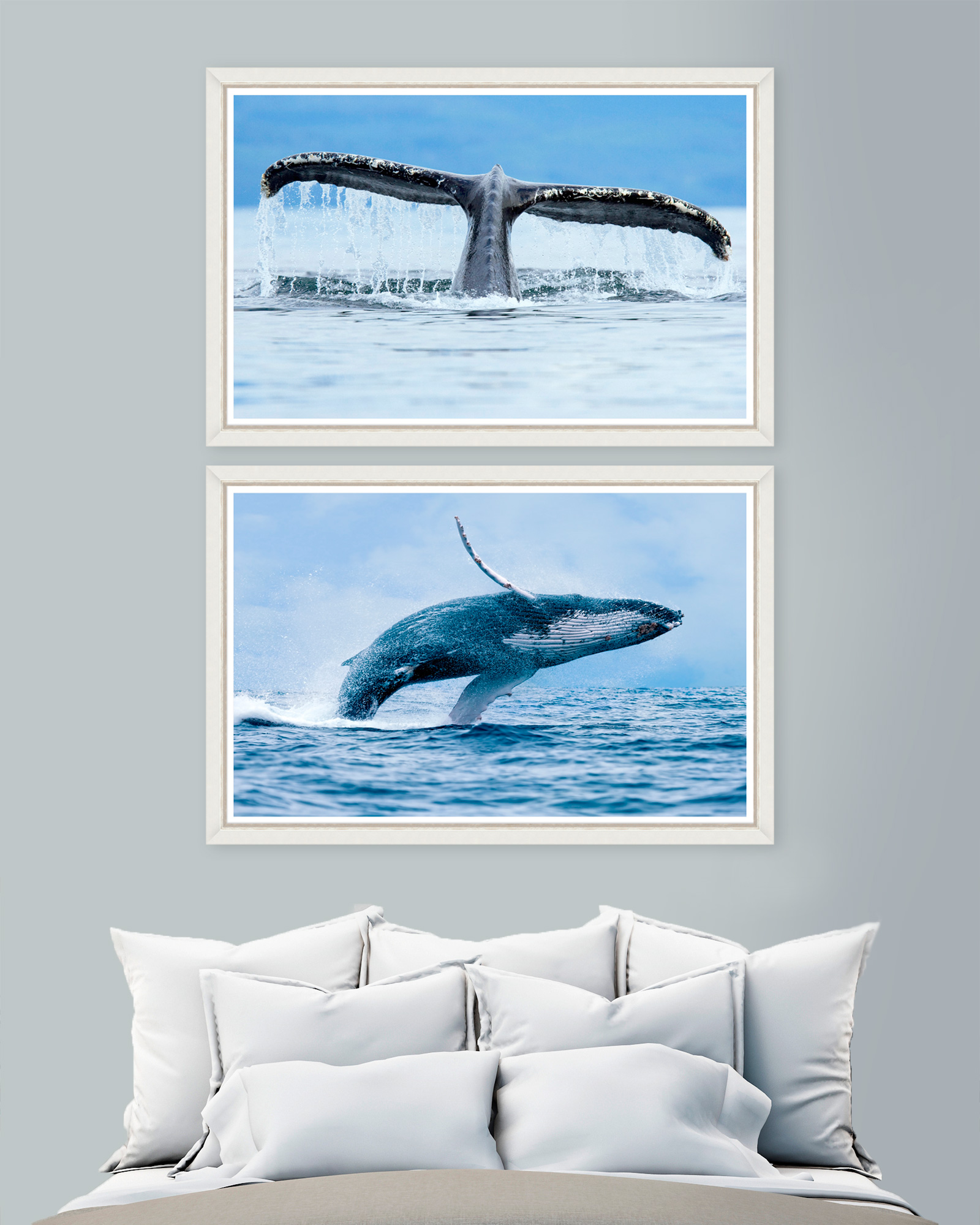 Tablou 2 piese Framed Art Whales