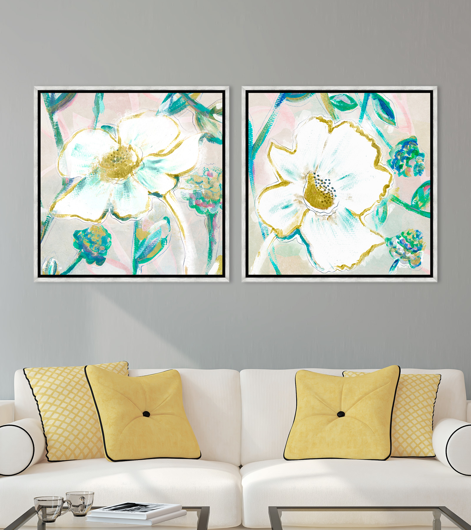 Tablou 2 piese Framed Art White Daisies