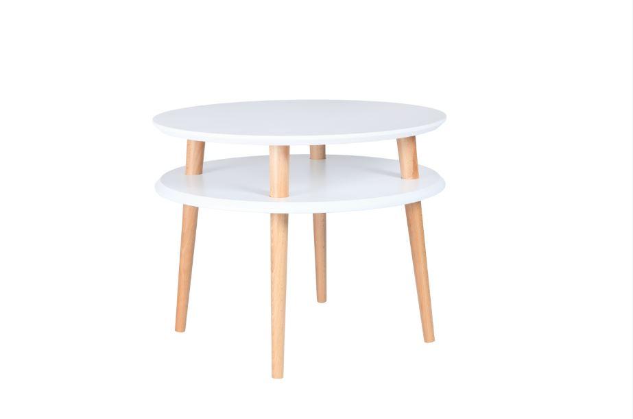 Masa de cafea din lemn de fag si MDF Ufo Medium White / Beech, Ø57xH45 cm