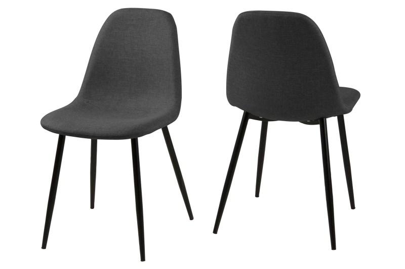 Set 4 scaune metalice tapitate Wilma Dark Grey/Black