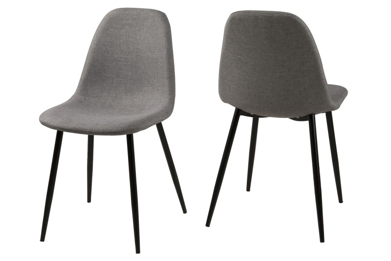 Set 4 scaune metalice tapitate Wilma Light Grey/Black title=Set 4 scaune metalice tapitate Wilma Light Grey/Black