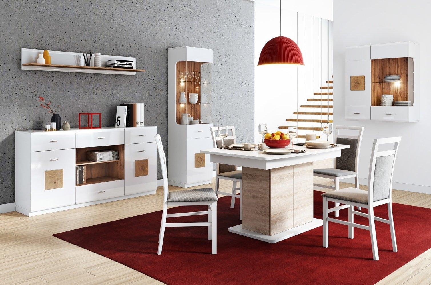 Set de mobila dining din pal, 5 piese Wood Alb / Stejar Wotan