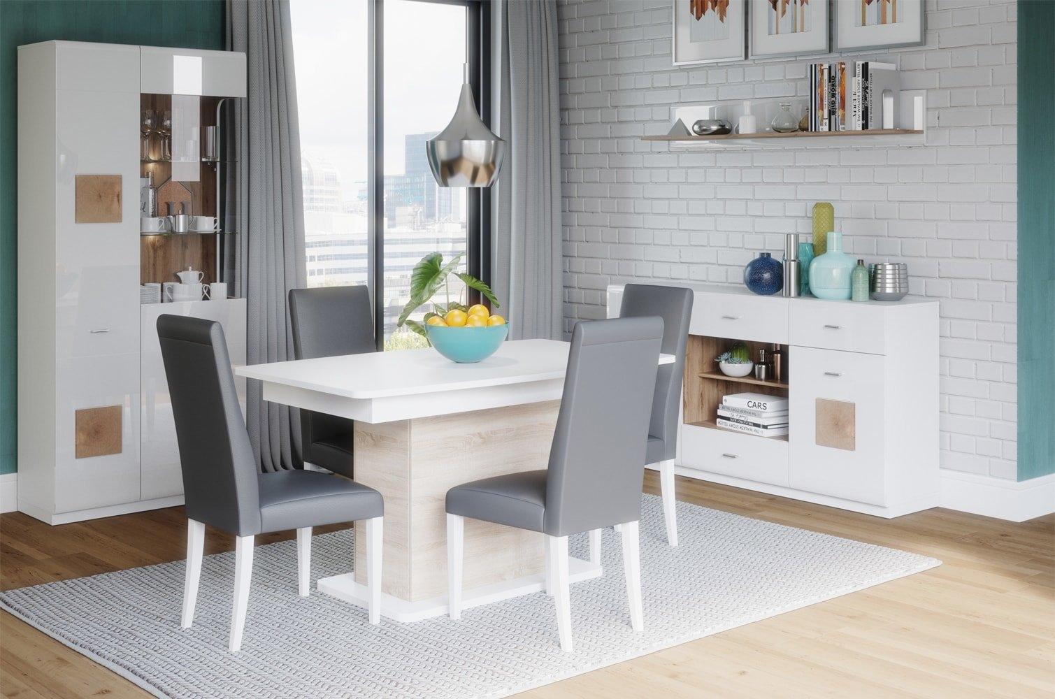 Set de mobila dining din pal, 4 piese Wood Alb / Stejar Wotan imagine