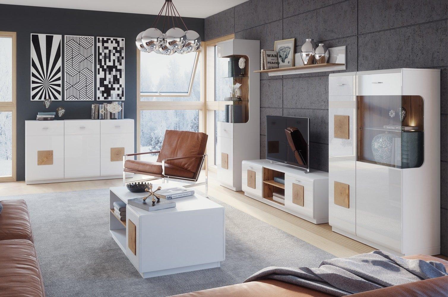 Set de mobila living din MDF 6 piese Wood White / Oak