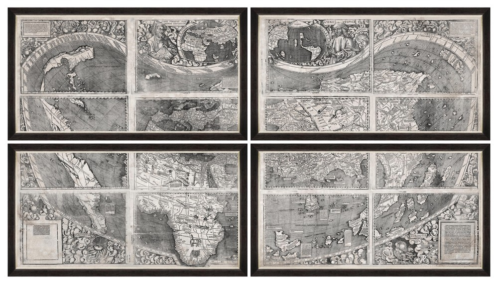 Tablou 4 piese Framed Art World Map 1507